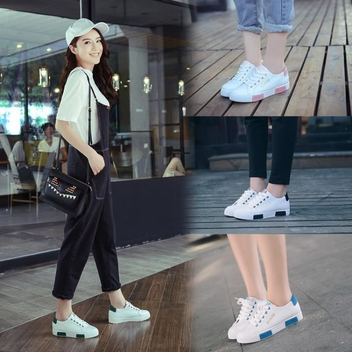 Chaussures femmes Skateboard chaussures de sport dame super plat lumière marchant toutes les chaussures en cuir de couleur de skMN1b