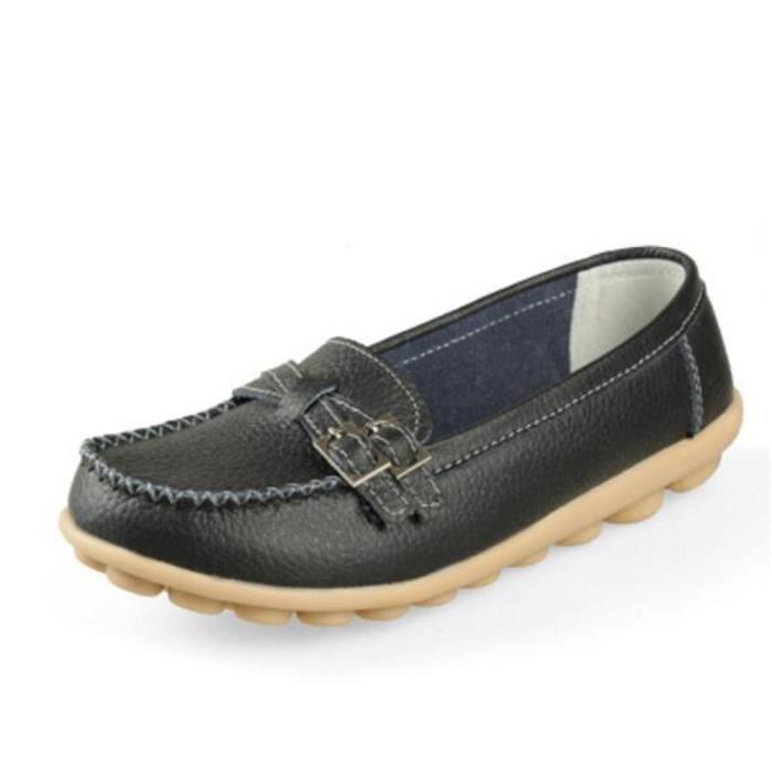 Chaussures femme En Cuir Haut qualité Moccasin Marque De Luxe Loafer femme Cuir Grande Taille Moccasin Nouvelle Mode ete Chaussures KUOI8