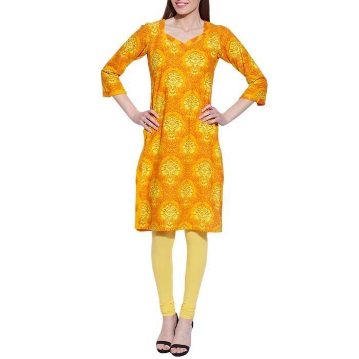 Manches longues col en V jaune Ikat féminin Imprimer Robe en coton - Unique Fashions 1QRU38 Taille-32