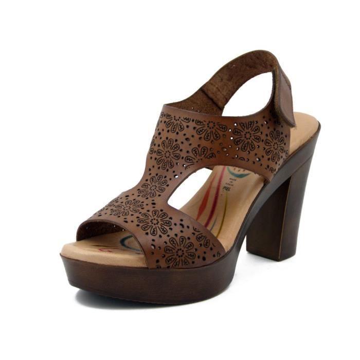SANDALE - NU-PIEDS RAQUEL PEREZ, Sandale femme, cuir lasered marron,