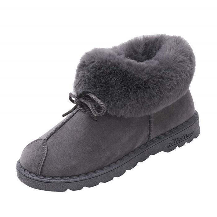Femme Bottes de Neige Hiver Chaudes Bottes Boots Fourrées Cheville Chaussures