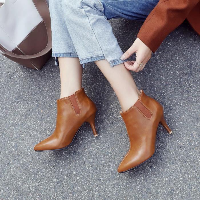 pilerty®2743 Bottes Pointu Bottes Mesdames sauvage Courtes Cuir bottillons Stiletto Chaussures Femmes cTJ3FK1l