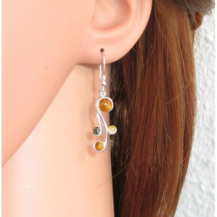Boucles d oreilles Argent 925 Ambre ref 42356 Orange