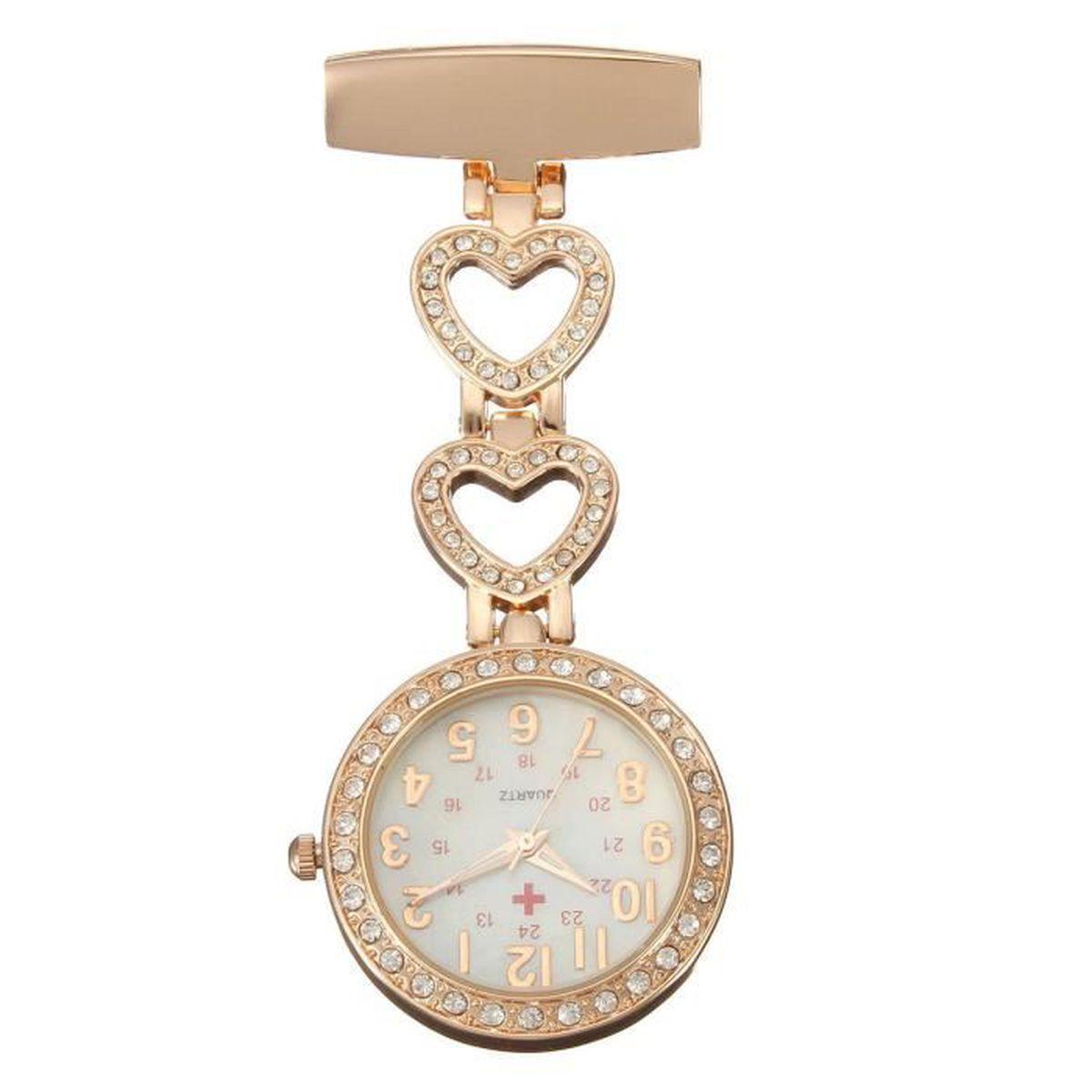 9e62065861 Montre Infirmière en Quartz Inox Cristal Or - Achat / Vente montre ...