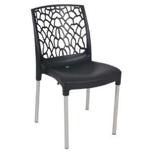 FAUTEUIL JARDIN  Lot 30 chaises de jardin empilables noires avec do