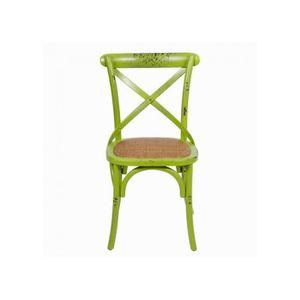 Chaise De Cuisine Vert Pomme Bois Et Cannage Style Bar