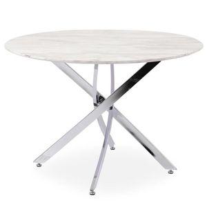 TABLE À MANGER SEULE Table ronde Dolmen Effet Marbre