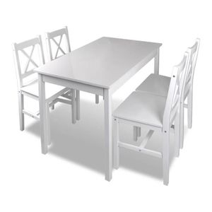 TABLE DE CUISINE 1 Ensemble Table En Bois 4 Chaises Couleur Blanc