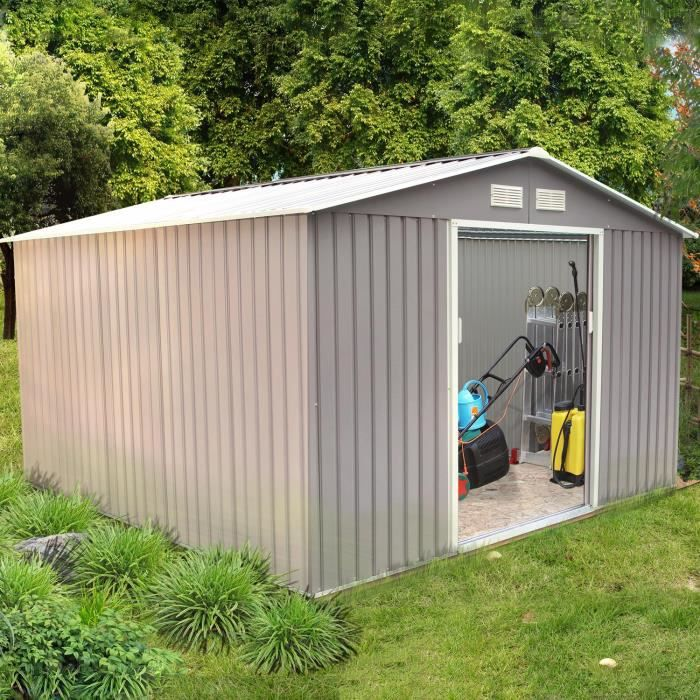 ABRI JARDIN - CHALET Abri de jardin10.85 m² en acier anti-corrosion gri