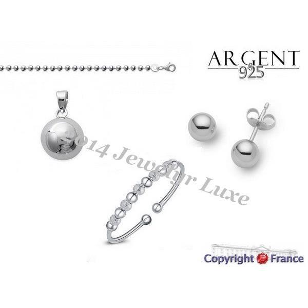 parure bijoux design boule collier boucles d oreille bracelet argent 925 achat vente. Black Bedroom Furniture Sets. Home Design Ideas