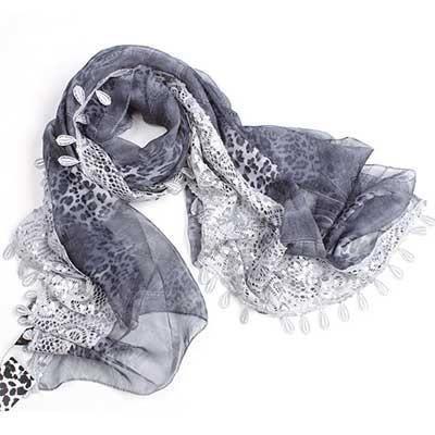 f03e43fe2909 Echarpe mousseline imprimée avec bande dentelle Gris - Achat   Vente ...