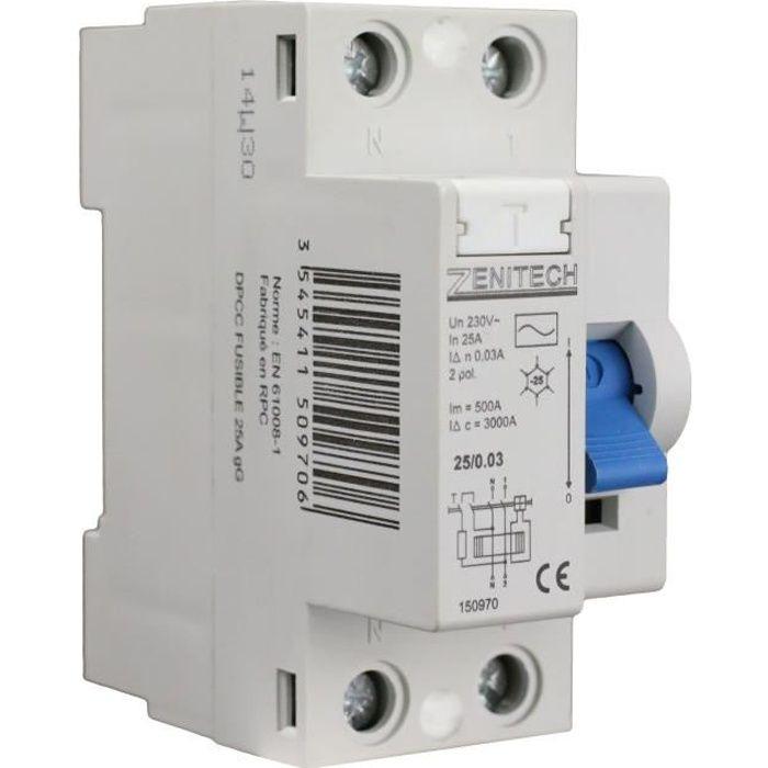 Zenitech Interrupteur Diffrentiel Type Ac A Ma  Achat  Vente