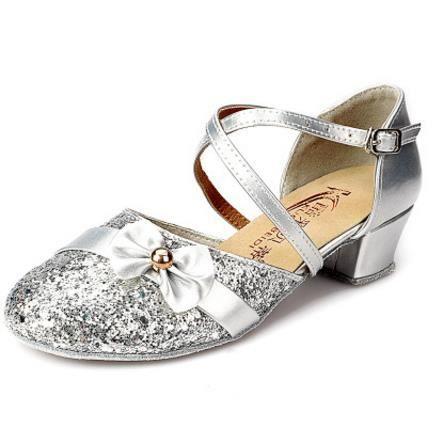 paillettes argent latine danse filles de dentelle chaussures danse pour enfants enfants Chaussures de EOYwqzX
