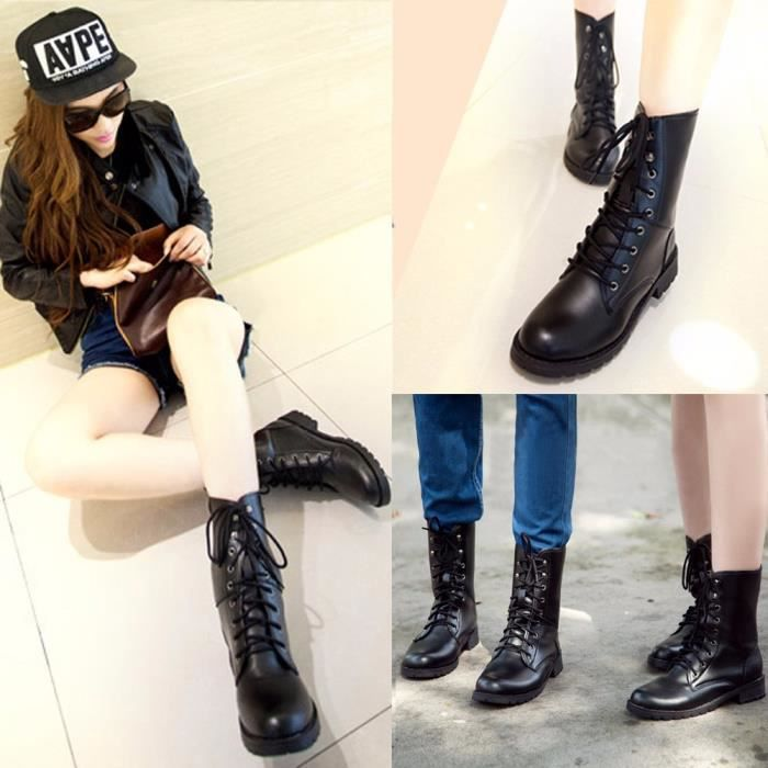 Boots Combat Up Army Femmes Flat Hommes Black Chaussures Biker Military Lace Z0cwqHwRz