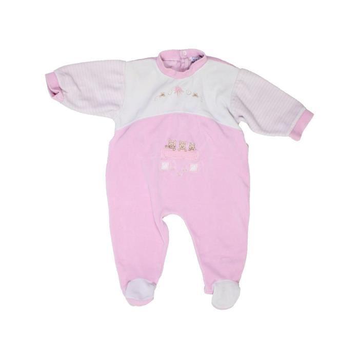 584c91cab95b9 Pyjama 1 pièce bébé fille NATALYS 3 mois blanc hiver - vêtement bébé   1064251