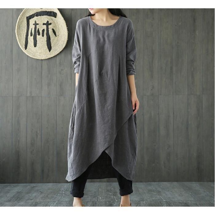 Femme Ethnique Robe Ete chic Maxi Longue Plus Size Tunique Boheme Lache  Coton Lin Boho Dress Gris 46b6c3c0f3d