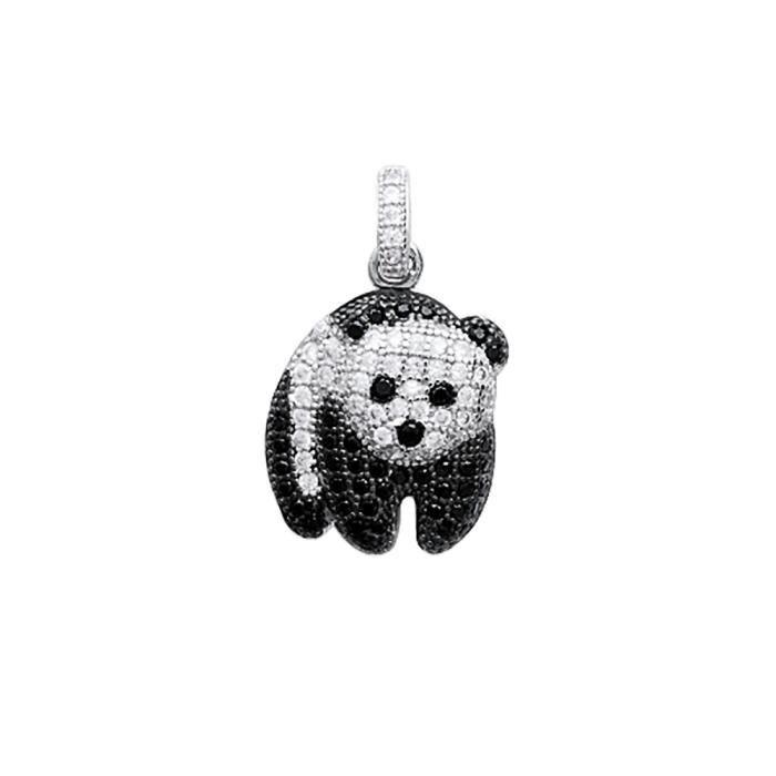 Pendentif Panda Argent 925/00 rhodié empierré oxydes de zirconium