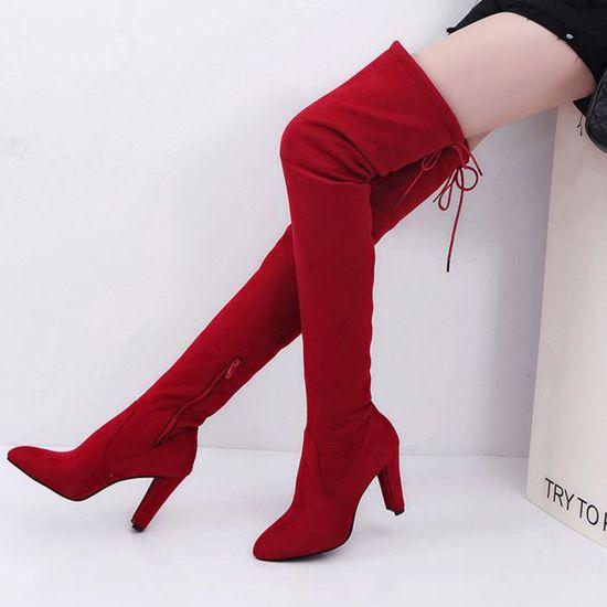 Femmes Talon Genou Au Bottes Haut 40 Rouge Slim Chaussures Du dessus gdwSAqgP