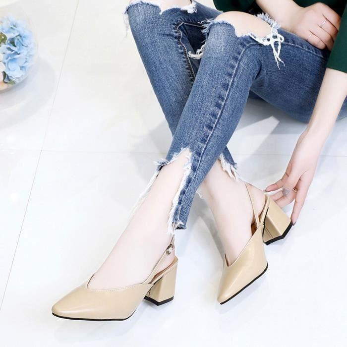 6246 Hoof Heels on Leisure Femmes Shoes Kaki Ladies Pointed Slip Toe y Fashion Party pxOdYq0zw