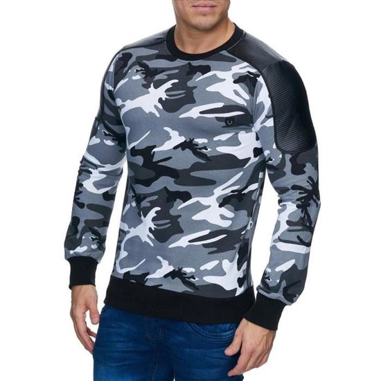876598fba84e2 Pull camouflage homme col rond Pull camo 808 blanc Blanc Blanc - Achat    Vente pull - Soldes  dès le 9 janvier ! Cdiscount