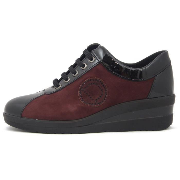 DIVAN, Sneaker femme, cuir noir brillant et daim bordeaux – BECQUER