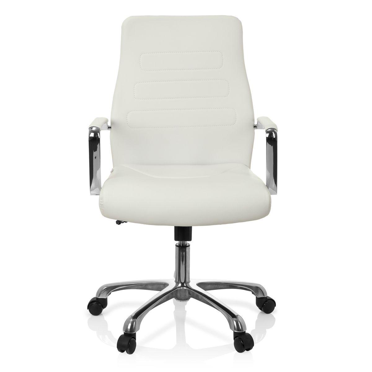 Chaise De Bureau Fauteuil De Direction Tewa Pu Blanc Hjh Office