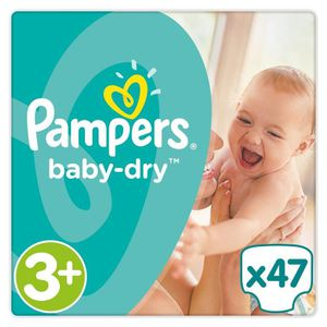 COUCHE PAMPERS Baby Dry Taille 3+ - 6 à 10 kg - 47 couche