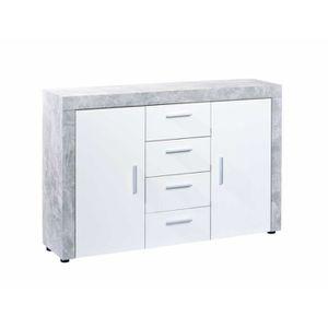 BUFFET - BAHUT  Buffet Bavon type 3 beton clair et blanc