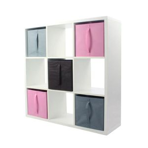 MEUBLE ÉTAGÈRE COMPO Meuble De Rangement 9 Cases + 5 Cubes Rose/G
