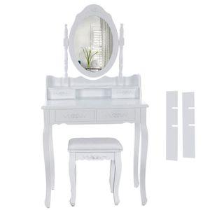 COIFFEUSE Blanc Coiffeuse Table De Maquillage Avec Miroir Et. ‹› 77b4eb2219b6
