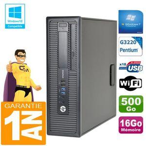UNITÉ CENTRALE + ÉCRAN PC HP EliteDesk 800 G1 SFF Intel G3220 16Go Disque