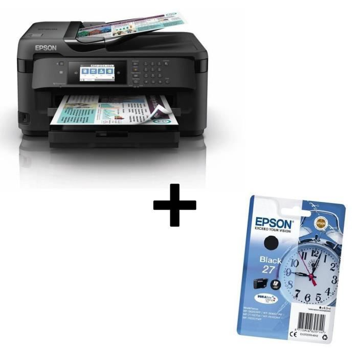 Pack EPSON Imprimante Multifonctions 4-en-1 Workforce WF-7710DWF + EPSON Cartouche T2701 - Réveil - Noir