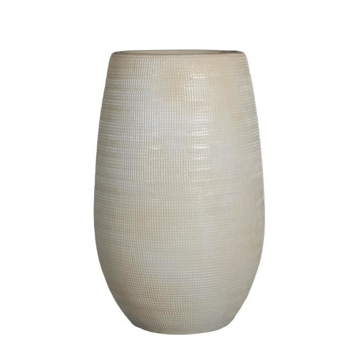 Dimensions : 35 x Ø18 cm - Blanc cassé reliefVASE - SOLIFLORE
