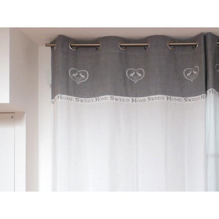 SOLEIL D'OCRE Rideau brodé Sweet Home 140x240 cm gris et blanc