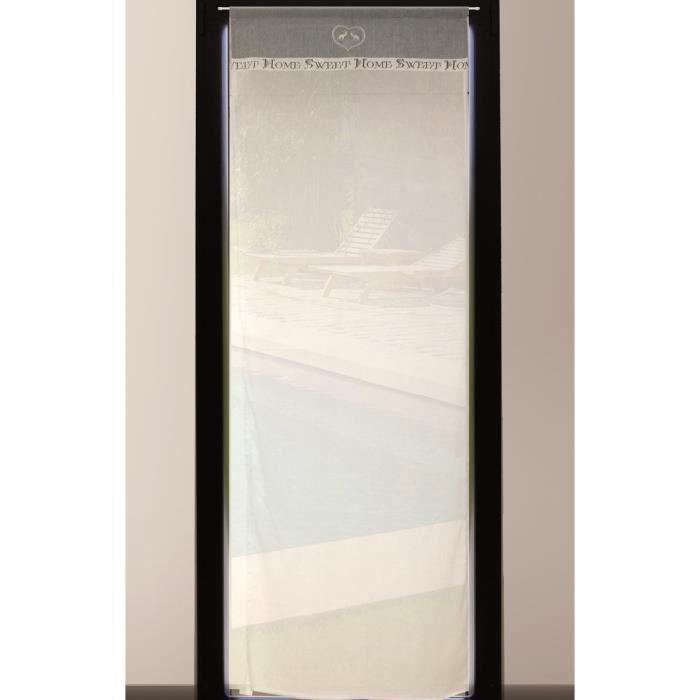 SOLEIL D'OCRE Brise-bise brodé Sweet Home 100% coton 70x200 cm gris et blanc