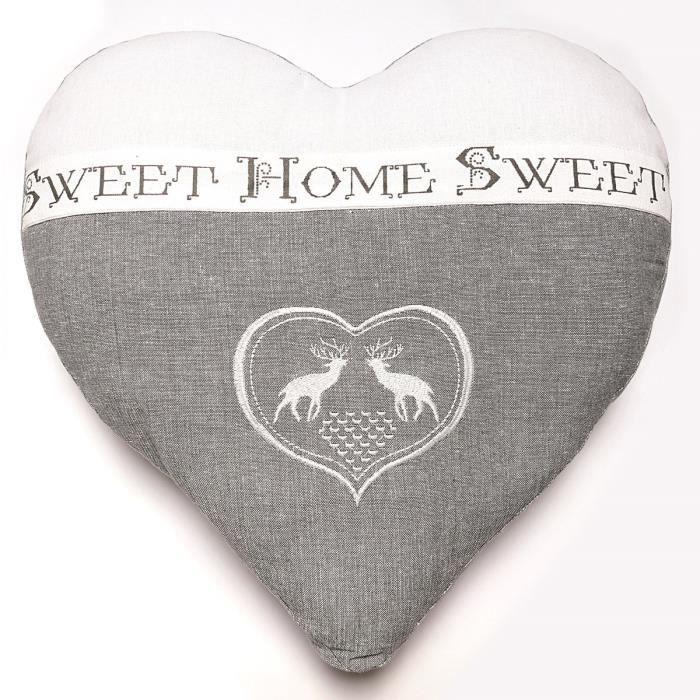 SOLEIL D'OCRE Coussin cŒur brodé Sweet Home 40x40 cm gris et blanc