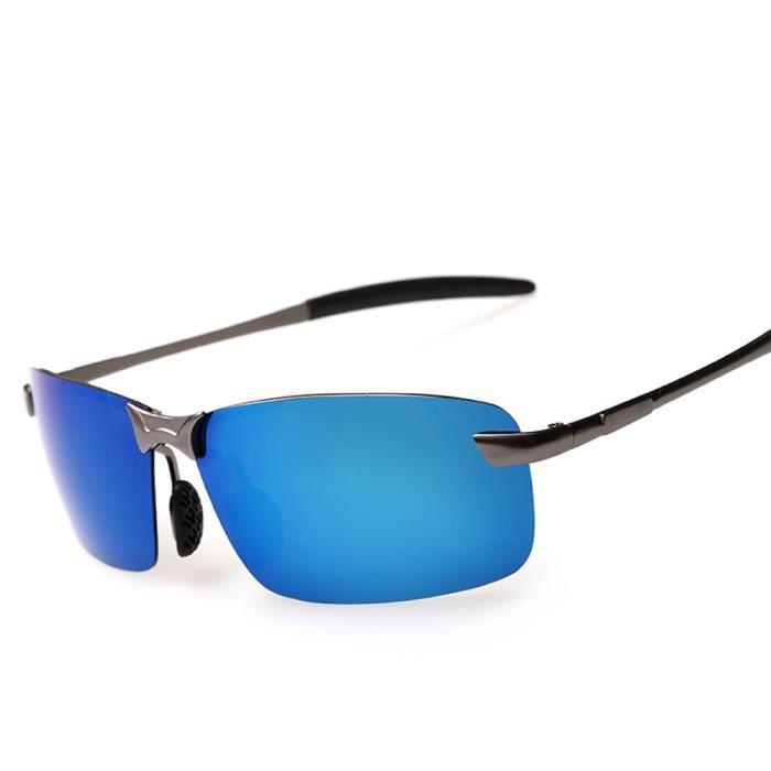 Lunettes de soleil mixte homme et femme polarisées Fashion Frameless sunglasses marque de Luxe Grise/Bleu