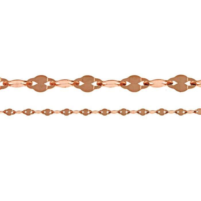 Rose Fancy poli 14 carats chaîne collier 20 pouces