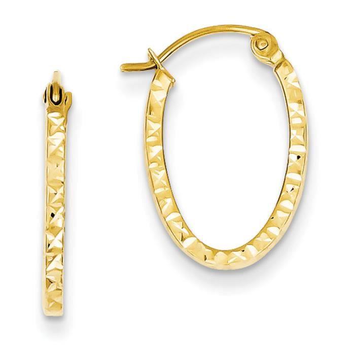 14 carats-Diamant-Coupe creuse ovale-Boucles dOreilles Créoles