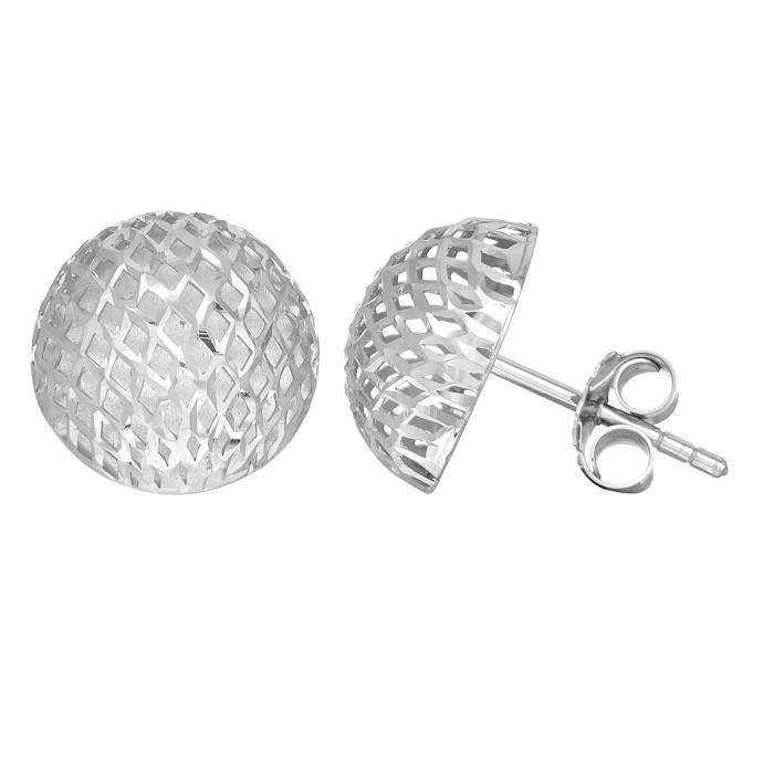 Boucles doreilles- Argent sterling Rhodium finition 12mm maille Style bouton semi-ronde