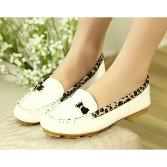 Mode féminine modèles chaussures Pois chaussures plates chaussures de dame de chaussures léopard, blanc 40