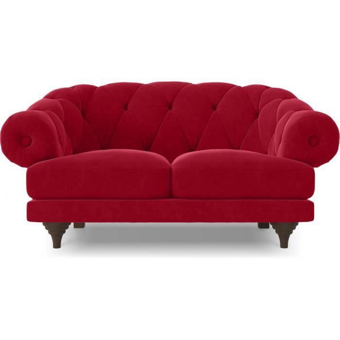 Canapé 2 places style Chesterfield en lin - Nolan Rouge - Achat ...