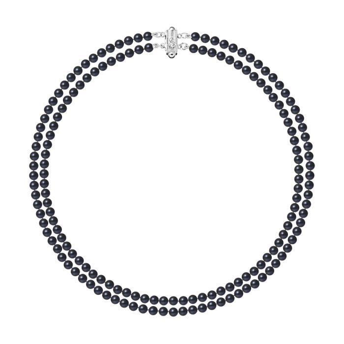 Collier 2 Rangs de Perles de culture deau douce Noir - Blue Pearls