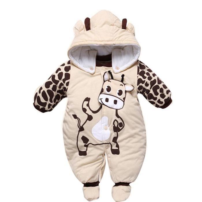 ebf3fb48e1f2c Hiver Pyjama Grenouillère Chaude Bébé Fille Barboteuse Chaud Combinaison