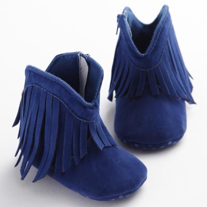 Nouveau-né Bébé Fille Garçon Bottes Prewalker Chaussures Hiver Infantile Bébé Chaussures à semelle souple frangées marche mnZgNiJY