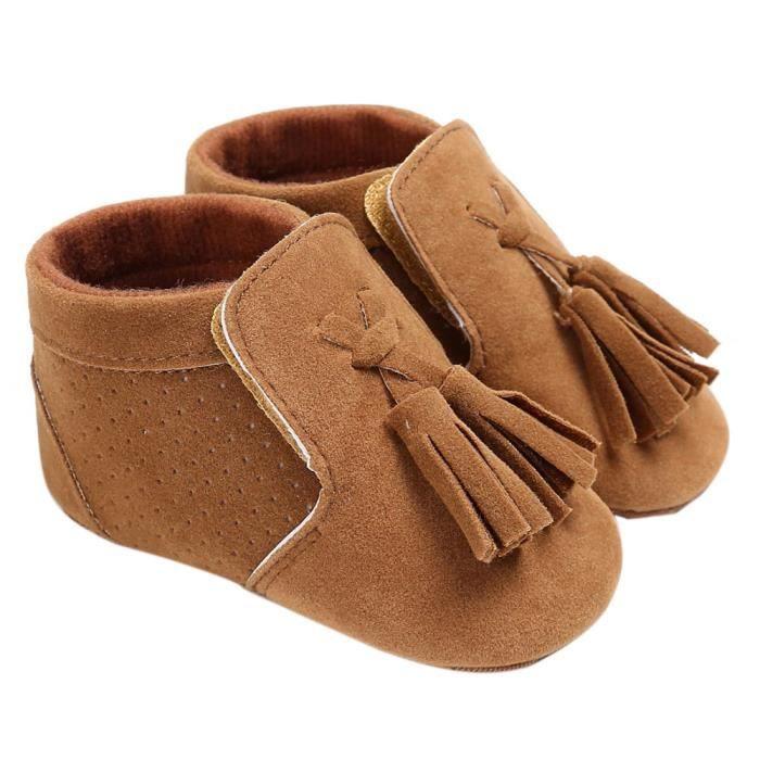 Frankmall®Bébé Chaussures Beaux glands garçon fille berceau semelle douce espadrilles chaussures MARRON#WQQ0926510 DAfLTMP8ax