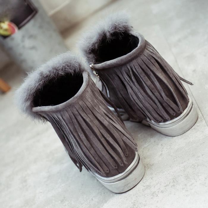 Chaud hiver chaussures femmes imperméables bottes de neige bottes à franges plates Bottines @GY