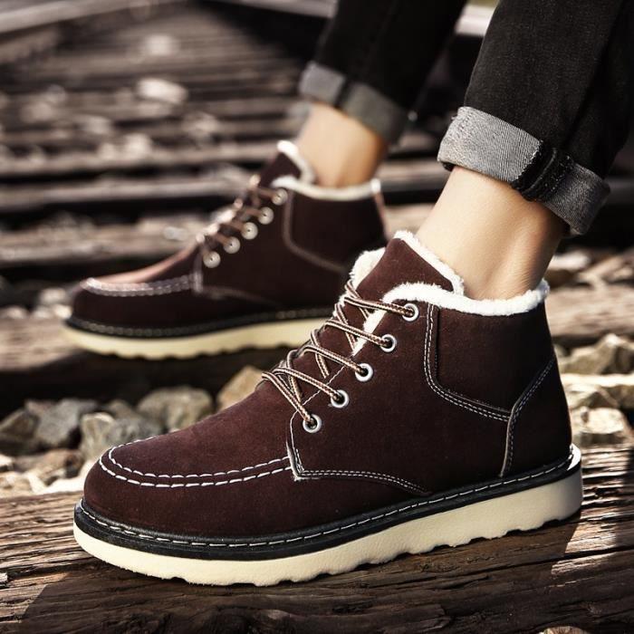 Bottines neige élégant d'hiver chausse des bottes haut-top style britannique, bottes de neige de Chevillé Chaussures D'hiver