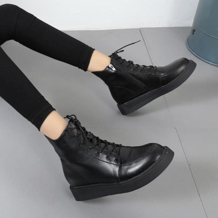 Chaussures imperméables femmes lacent Martin bottes couture solide appartement avec des chaussures XYM71211904_1001