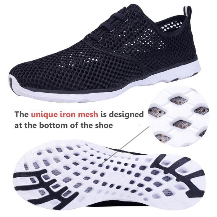 Water Shoes Mens Quick Drying Aqua Shoes Beach Pool Shoes Mesh Slip On SIR39 Taille-44